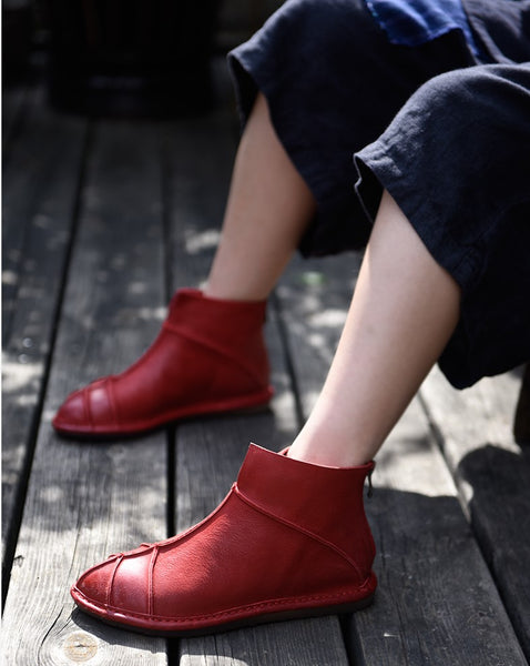 ARTMU ZIP BACK FLAT ANKLE BOOTS IN RED