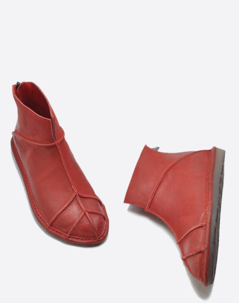 ARTMU ZIP BACK FLAT ANKLE BOOTS IN RED - boopdo