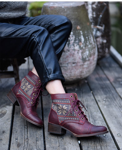 ARTMU LEATHER LACE UP BOOTS IN PRINT