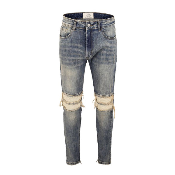 HYPESTER BIKERS RIPPED WASHED DENIM JEAN PANTS