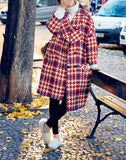 8GIRLS DESIGN OVERSIZE BALLOON SLEEVE CHECK COAT - boopdo