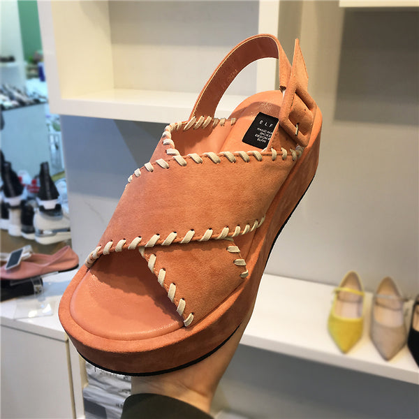 LUXE SEVEN DESIGN STRAPPY FLATFORM SANDALS - boopdo