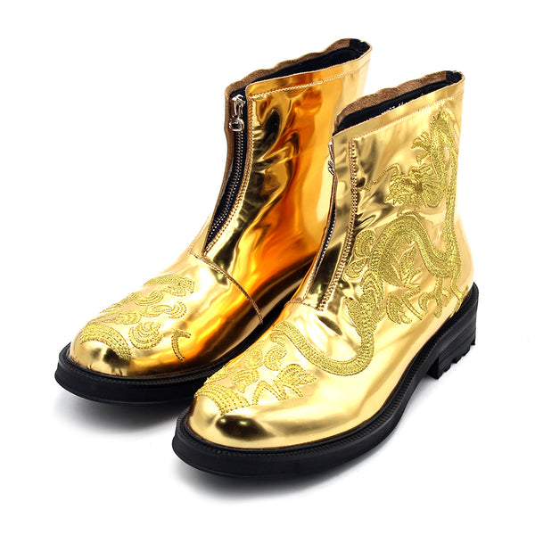 JINIWU VANGUARD DRAGON FASHION WEEK LEATHER BOOTS IN GOLD - boopdo