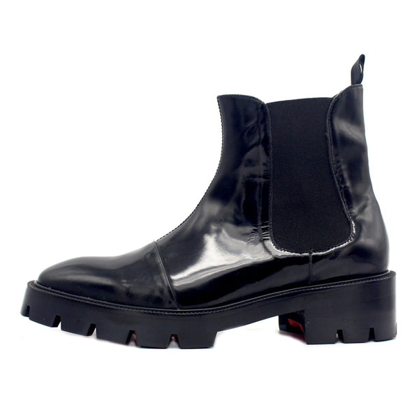 JINIWU VANGUARD NIJI PLAIN PURE BLACK THICK SOLE ANKLE CHELSEA BOOTS - boopdo