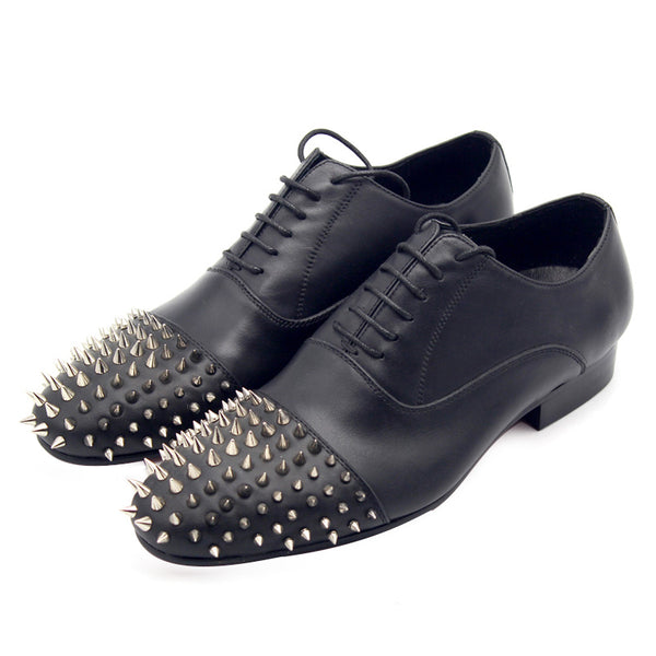 JINIWU VANGUARD JINI OXFORD SHOES IN BLACK WITH RIVET - boopdo