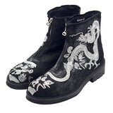 jiniwu vanguard dragon silver embroidery thic sole matte black boots