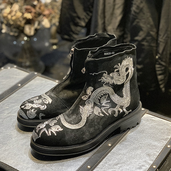 JINIWU VANGUARD DRAGON SILVER EMBROIDERY THICK SOLE MATTE BLACK BOOTS