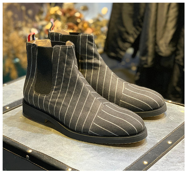 JINIWU VANGUARD STRIPED ELASTIC BAND CHELSEA BOOTS - boopdo