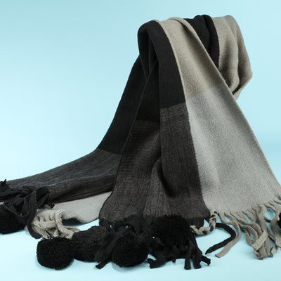 MR EVIL MATCHING COLOR TASSEL BALL LONG SCARF - boopdo