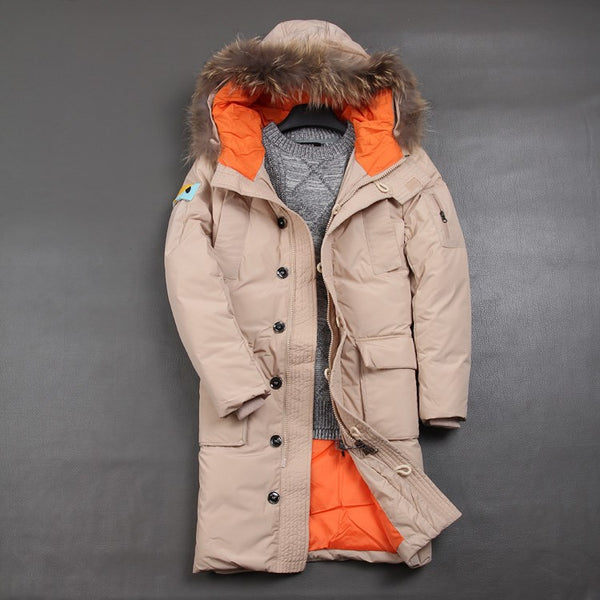 DETACHABLE CAP FAUX FUR COLLAR SET OF ROPE BUCKLE STYLISH LONG DOWN JACKET