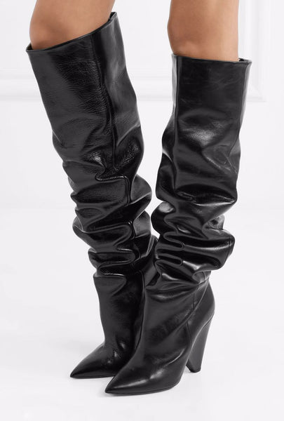 UNIPOLIA LUXURY DESIGN HIGH HEELED OVER THE KNEE BOOTS WITH DIAMOND CRYSTAL - boopdo