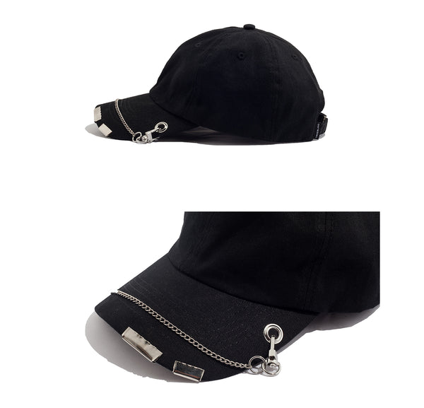 ZHONG GUO IRON CHAIN CAP IN BLACK - boopdo