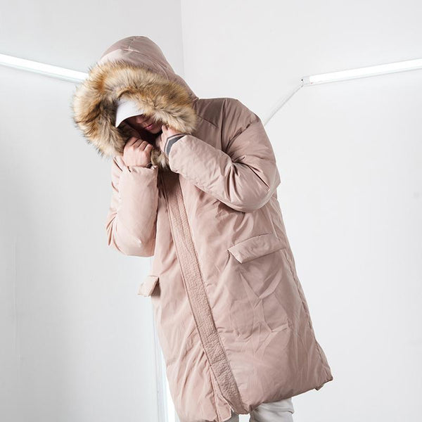 ABOW LIFE STAND COLLAR QUILTED HOODIE JACKET IN APRICOT
