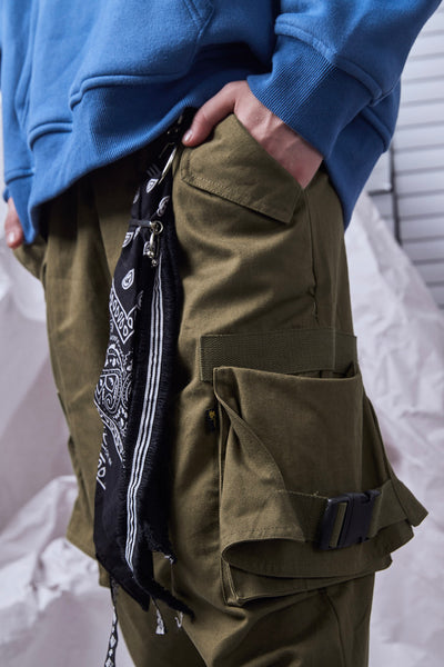 SHOW RICH MADE BY ABOW LIFE MULTI POCKET ARMY GREEN HAREM SWEATPANTS - boopdo