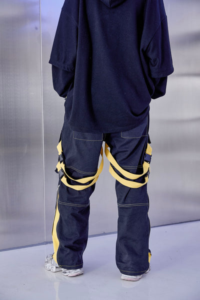 SHOW RICH GUOCHOZ DESIGNED BY ABOW LIFE MULTI POCKET DENIM JEAN SWEATPANTS - boopdo