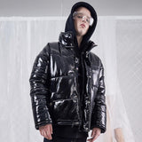 SHOW RICH BRIGHT BLACK HIGH COLLAR THICK JACKET - boopdo