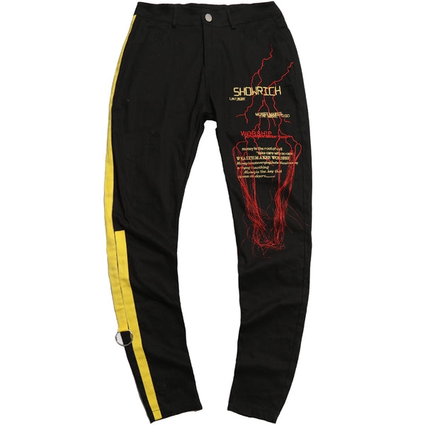 SHOW RICH MADE BY ABOW LIFE EMBROIDERY CONTRAST COLORS SLIM FIT CASUAL SWEATPANTS - boopdo