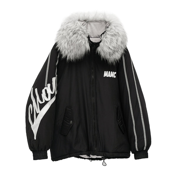MAMC SHOW RICH MADE BY ABOW LIFE COACH BIG FUR COLLAR COTTON PATCH JACKET - boopdo