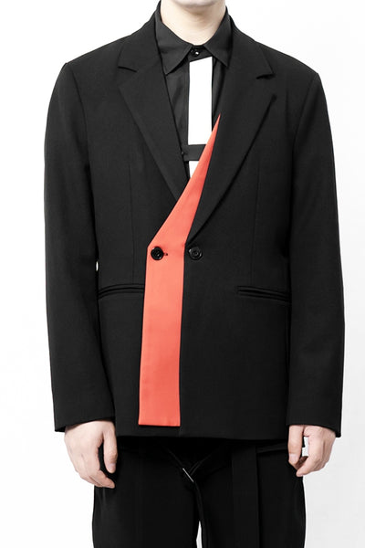 YOHJA FUBO URBAN STYLE TWO PIECE CASUAL SUIT JACKET IN CONTRAST COLOR - boopdo