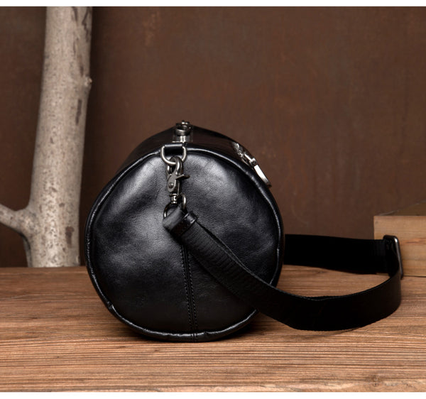MANTIME SIXTH AVE MEZZANINE BUCKET LEATHER SHOULDER BAG IN BLACK - boopdo