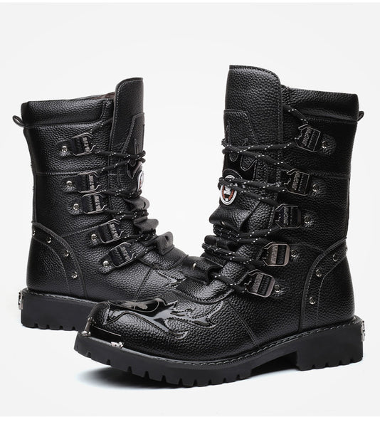 THE FEAST OF NOSTALGIA AIR FORCE PLUS VELVET LEATHER BLACK UNISEX BOOTS - boopdo