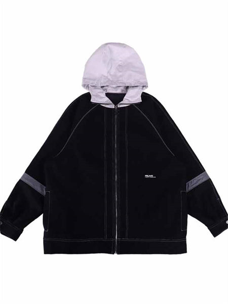 FRLMK AMERICAN CASUAL BASIC STYLE CAPS DENIM PATTERN HOODY JACKET