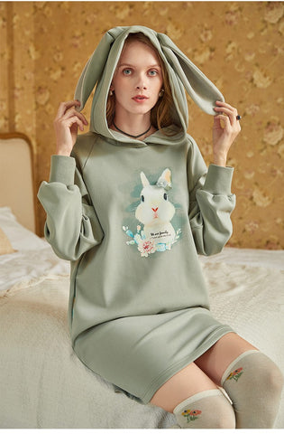 ARTKA HOODED SWEAT DRESS WITH CUTE RABBIT PATCH