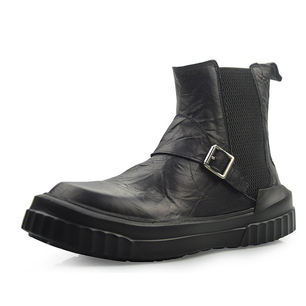 BMANTE MARTIX BUCKLE MID ANKLE THICK SOLED LEATHER BOOTS