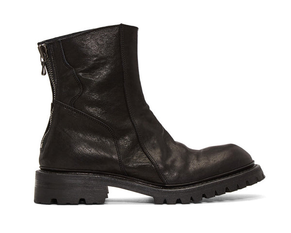 VAGA RIVLAND ZIP UP HIGH ANKLE BLACK FAUX LEATHER BOOTS - boopdo