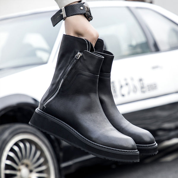 ATOMIZE TIXMARK FAUX LEATHER FLAT ANKLE BLACK BOOTS