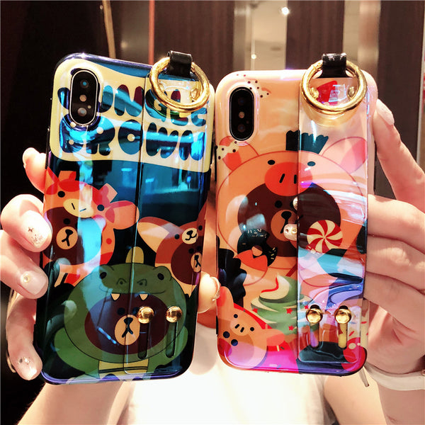 TEDDY JUNGLE BEARS CARTOON PRINT APPLE IPHONE CASES WITH WRISTBAND - boopdo