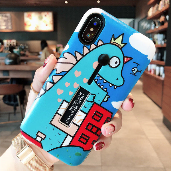 DINOZOR PIG GIRAFFE PRINT CARTOON APPLE IPHONE MATTE PHONE CASE - boopdo