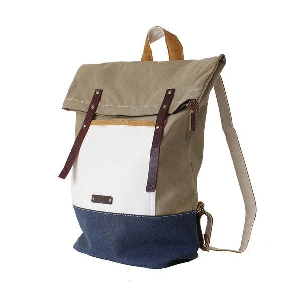 BOOPDO DESIGN COLOR BLOCK FOLD TOP BACKPACK - boopdo