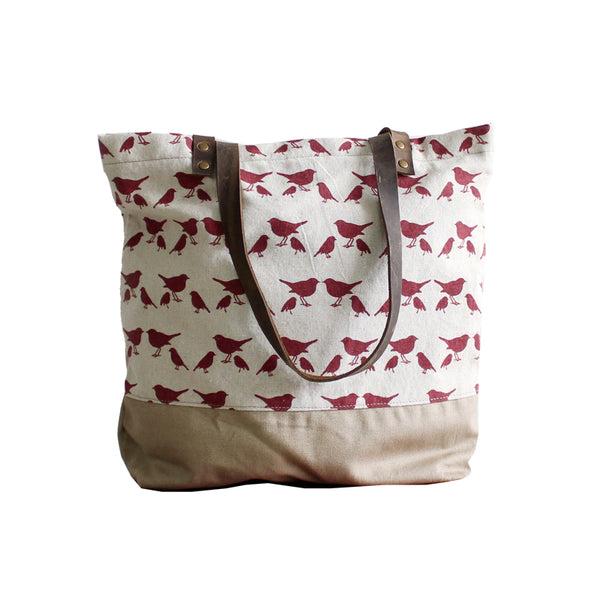 BOOPDO DESIGN LITTLE BIRD CANVAS TOTE BAG