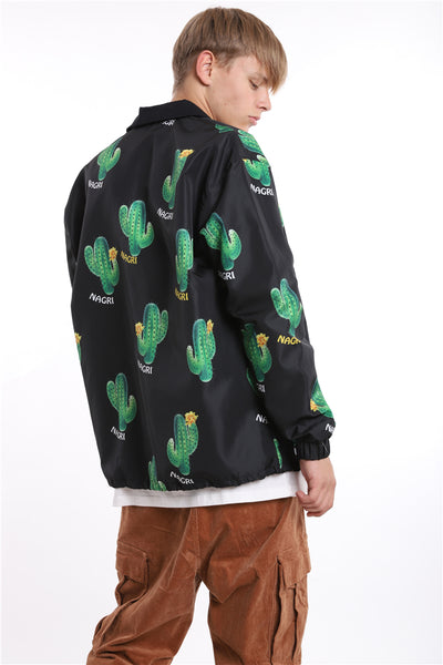 DEZO CATHLON CACTUS FLORAL MESH LINING HIPSTER STYLE JACKET