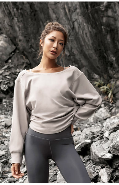 LANIKAR DROPPED SHOULDER DESIGN CROPPED SWEATSHIRT - boopdo