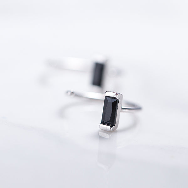 SILVER OF LIFE 925 BLACK STONE HOOP EARRINGS - boopdo