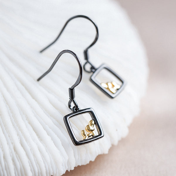 SILVER OF LIFE 925 PULL TROUGH EARRINGS WITH RECTANGULAR DROP - boopdo