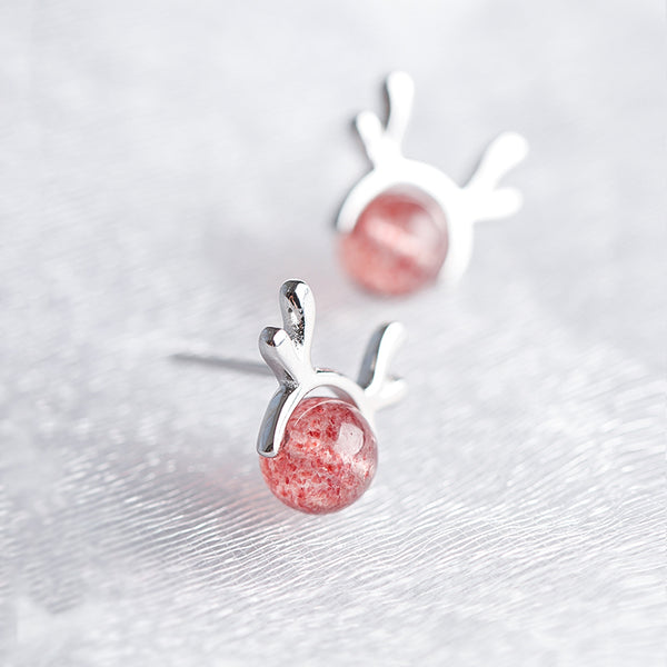 SILVER OF LIFE 925 STRAWBERRY ROTATED CRYSTAL DESIGN SILVER EARRINGS - boopdo
