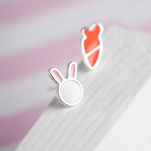 SILVER OF LIFE STERLING SILVER RABBIT AND CARROT STUD EARRINGS - boopdo