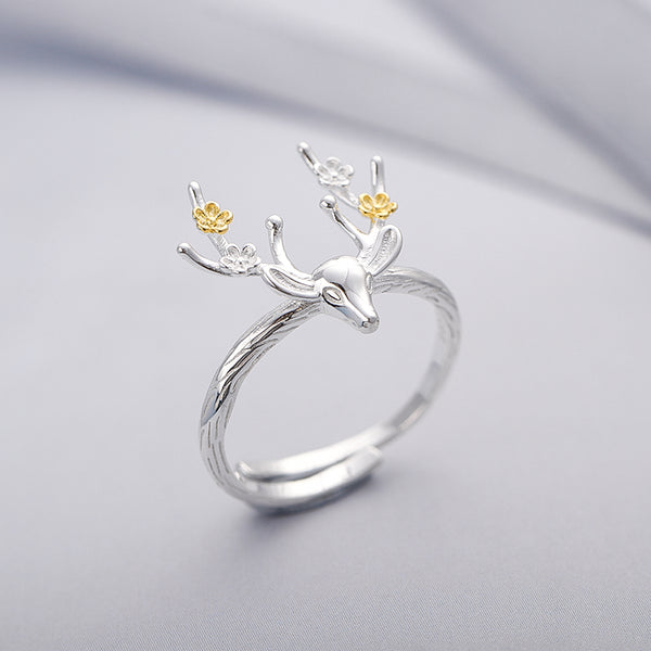 SILVER OF LIFE 925 SILVER RINGS WITH ANTLER FLOWERS FIGURED