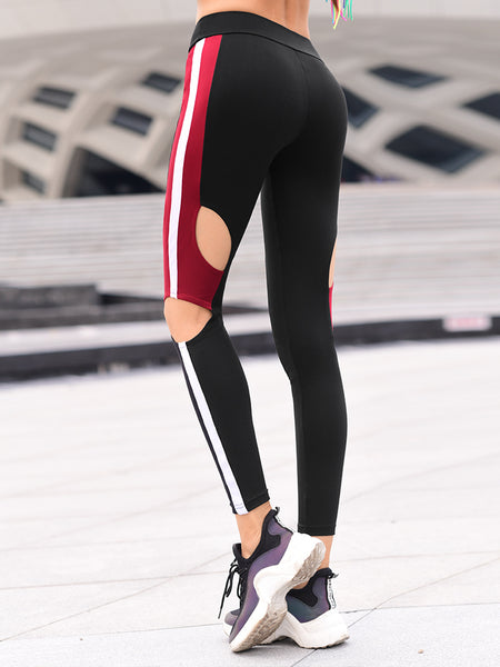 MIP OPEN RIPPED LEGGINGS WITH CONTRAST PANEL DESIGN - boopdo