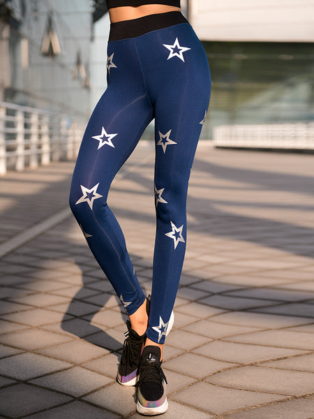 MIP STAR PRINT ALL OVER LEGGINGS IN DARK BLUE - boopdo