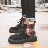 FXSO SUEDE LACE UP ANKLE BOOTS WITH CONTRAST CHECK 054 LIGHT BROWN BLACK