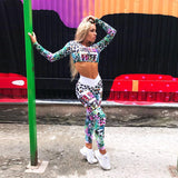ZUMBA GIRLS ALL OVER MIXED PRINT CROP TOP & LEGGINGS CO ORD