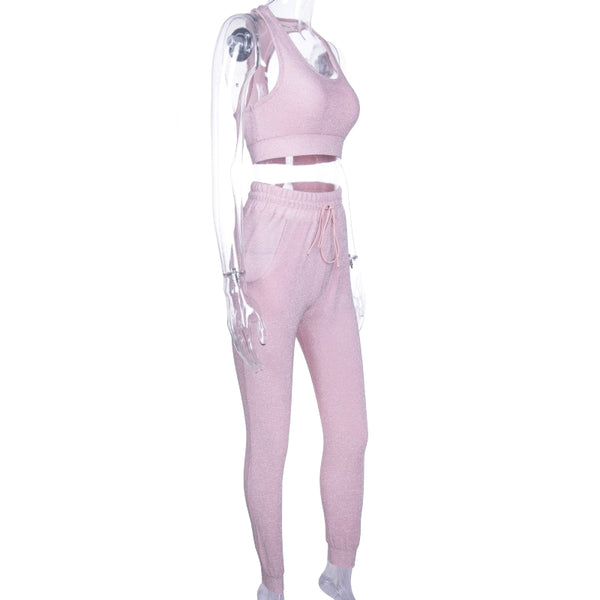 ZUMBA GIRLS CO ORD GLITTER TRACK PANTS IN PINK