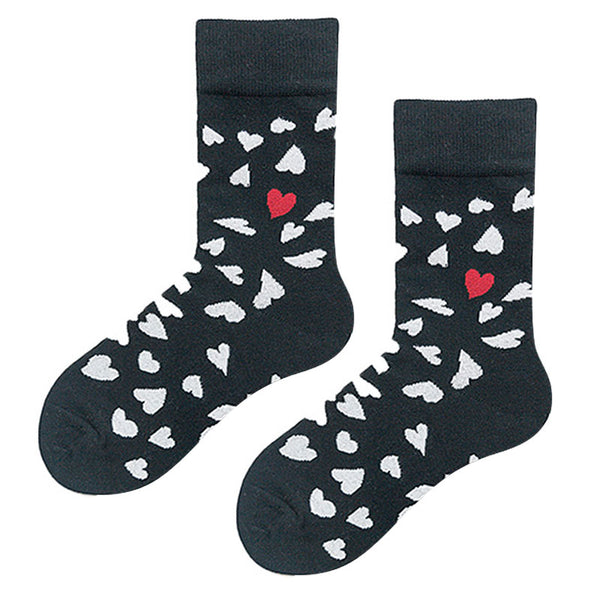MONDAYS HEART PRINT ANKLE SOCKS IN BLACK