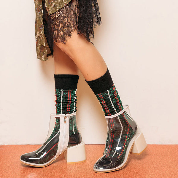 SEVEN DAYS GLITTERY VERTICAL STRIPED KNEE SOCKS