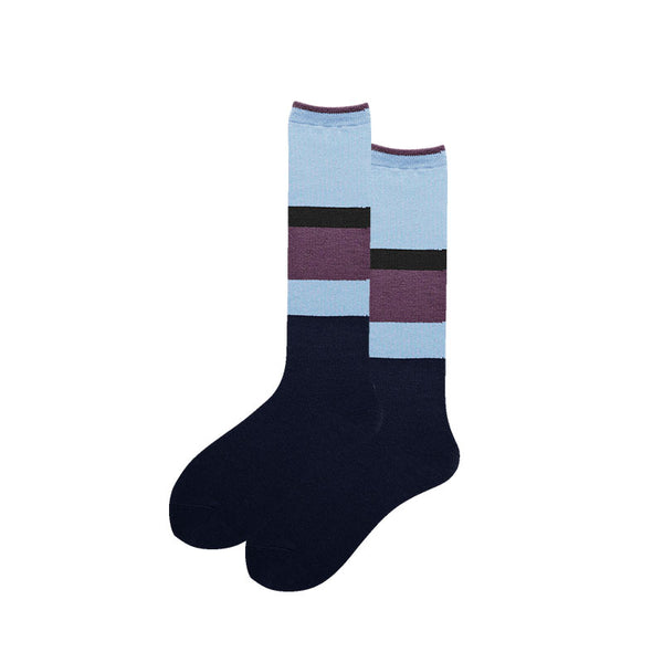 SEVEN DAYS KNEE HIGH SOCKS WITH WIDE BLUE STRIPES - boopdo