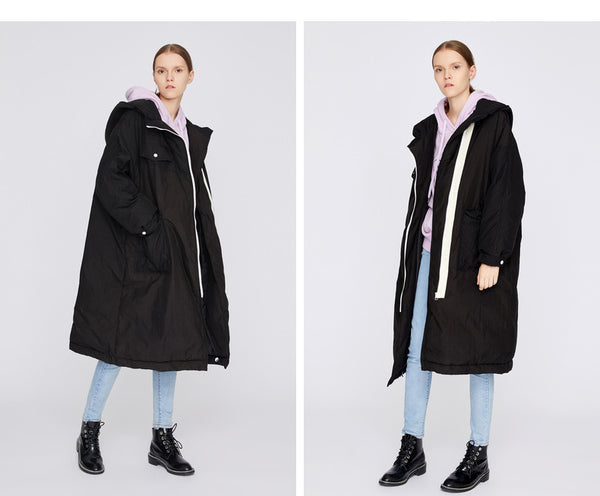 TOYOUTH BORG LINED OVERSIZE MAXI PARKA WITH WHITE ZIP LINE - boopdo